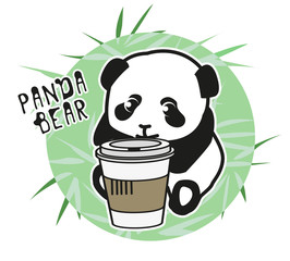 Panda bear Illustration children, young, set. Funny drawing for children and young.