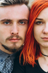 portrait of a young couple in love hipster