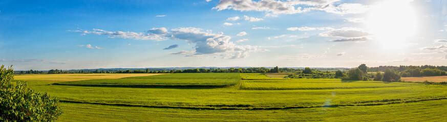 Countryside panorama of green field