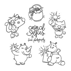 Animals taking selfie photo on smart phone. Outline drawing for coloring.