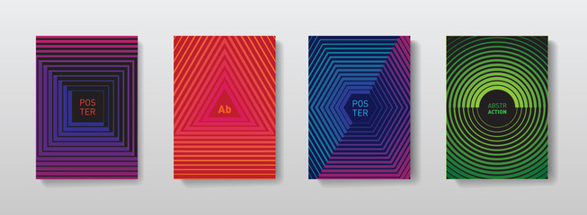 Geometric halftone gradients for covers design. Minimalistic posters designs. Abstract futuristic background with geometric patterns.