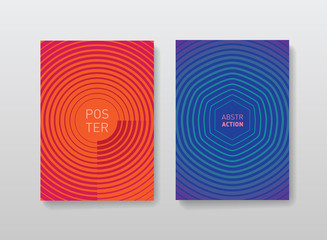 Minimalistic posters design. Geometric halftone gradients for covers design. Abstract futuristic background.