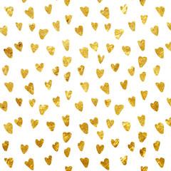 Golden foil heart seamless pattern