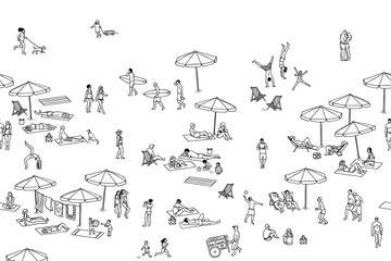 Seamless banner of tiny people at the beach, can be tiled horizontally: a diverse collection of small hand drawn men, women and kids playing,