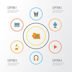 Music Flat Icons Set. Collection Of Earpiece, Ear Muffs, Button And Other Elements. Also Includes Symbols Such As Headphone, Archive, Earpiece.