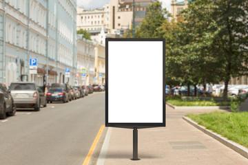 In de dag Historisch geb. Blank vertical street billboard