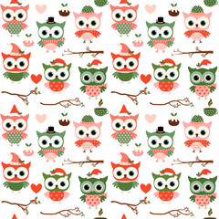 Cute Christmas and winter vector seamless pattern with cartoon o