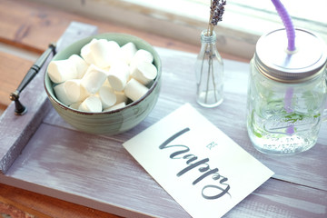 Fresh summer breakfast snack with marshmallows and lavender