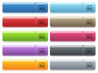 Move image icons on color glossy, rectangular menu button
