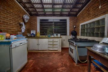 Old farm kitchen black and white photo