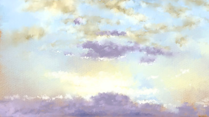 Sky. Paintings landscape. Digital oil.