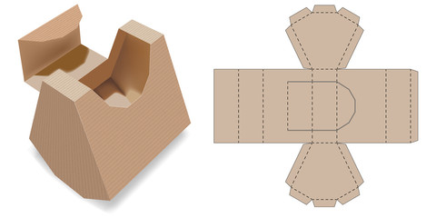 Gift Box Packaging Template. Retail Box with Blueprint Template. Cardboard Shaped Opening Carry Box Bag Packaging, Isolated On White Background. Die-stamping.