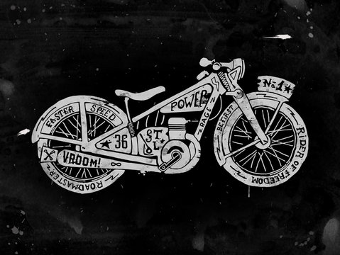 Hand drawn Silhouette of vintage motorcycle filled with text. Grunge illustration