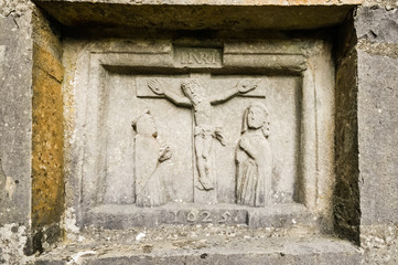 Ancient carving of Jesus, thought to date back to the 5th Century, Turlough Abbey, County Mayo, Ireland