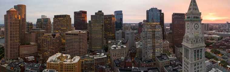 Aerial panorama Boston clock tower