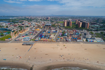 Aerial drone photo of Coney Island New York USA