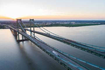 Aerial drone image of the Delaware Memorial Bridge
