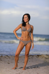 Woman in a bikini posing on the beach