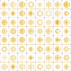 Geometric gold pattern on white background. Vector gold luxury vintage background. Gold classic pattern.