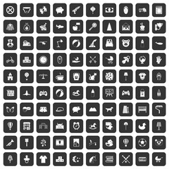 100 nursery icons set black