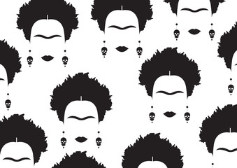 background black portrait of Mexican or Spanish woman, minimalist Frida with earrings skulls, vector isolated