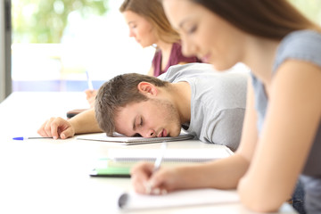 Tired student sleeping in a class at classroom