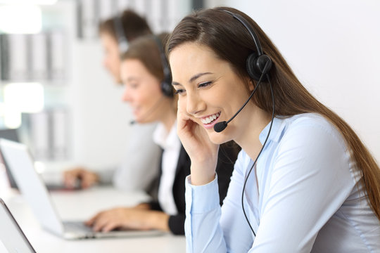 Telemarketing operator working at office