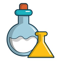 Chemical bottles icon, cartoon style