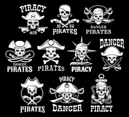 Pirates black icons for vector piracy flags