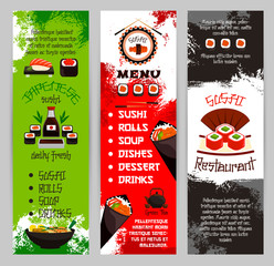 Japanese restaurant or sushi bar menu vector banners