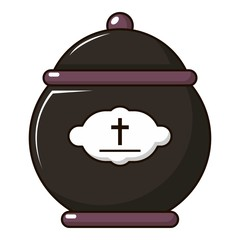 Funeral urn icon, cartoon style