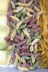 Multi-colored farmers market homemade pasta
