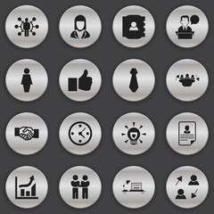 Set Of 16 Editable Job Icons. Includes Symbols Such As Publish, Talking Man, Bulb And More. Can Be Used For Web, Mobile, UI And Infographic Design.