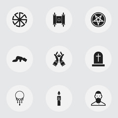 Set Of 9 Editable Religion Icons. Includes Symbols Such As Fire Wax, David Star, Candlestick. Can Be Used For Web, Mobile, UI And Infographic Design.