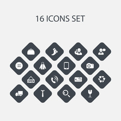 Set Of 16 Editable Shopping Icons. Includes Symbols Such As Telephone, Hosiery, Sheath And More. Can Be Used For Web, Mobile, UI And Infographic Design.