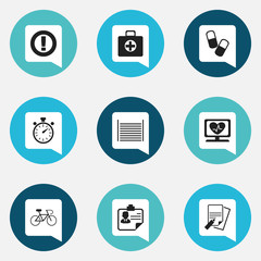 Set Of 9 Editable Complex Icons. Includes Symbols Such As Heart Rhythm, Velocipede, First Aid Box And More. Can Be Used For Web, Mobile, UI And Infographic Design.