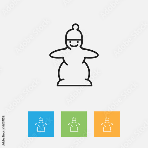 Vector Illustration Of Air Symbol On Snowman Outline Premium