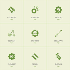 Set Of 9 Editable Service Icons. Includes Symbols Such As Service, Cogwheels, Instrument And More. Can Be Used For Web, Mobile, UI And Infographic Design.