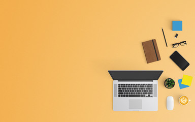 Modern workspace with coffee cup, paper, smartphone, notebook and laptop copy space on orange color...