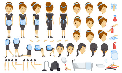 Housekeeping cartoon creation set.animated character. Icons with different types of faces and hair style, emotions, front, rear, side view of female person.Moving arms, legs. Easy to modify for works.