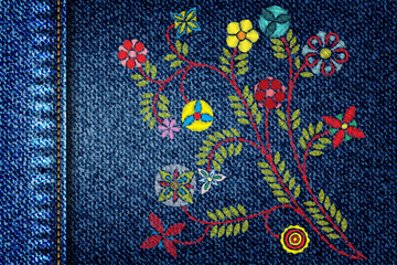 Girl denim texture with embroidery colorful trend floral bouquet. Contemporary traditional folk with color flowers arrangements on blue background for dress design. Stitch patch jeans dress.  Vector.