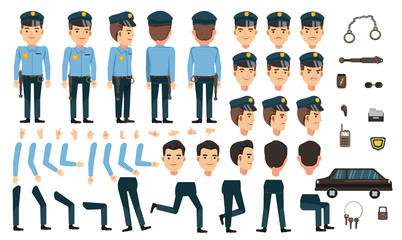 Security guard creation set. animated character. Icons with different types of faces and hair style, emotions, front, rear, side view of male person. Moving arms, legs.Vector Isolated on background