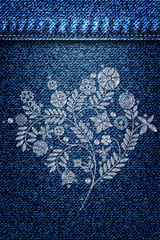 Silver lace flower embroidery on jeans or blue denim background design. Contemporary lace background ornamental floral background for wedding invitation. Decorative element for patches and stickers.