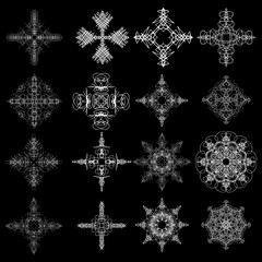 Round symbols spirographs design element set. Template for creating logo emblem, monogram frame. Linear style geometry mandalas. Vector.