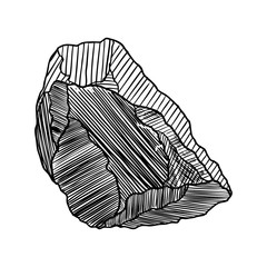 Rock stone hand drawn style. Big Boulder. Cracked and damaged stone rubble architecture design. Gold nugget or prill. Vector.