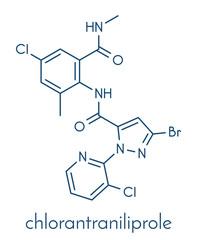 Chlorantraniliprole insecticide molecule (ryanoid class). Skeletal formula.