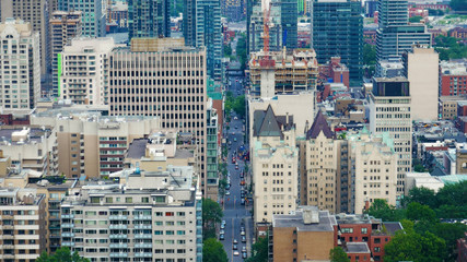 Aerial view of the downtown of Montreal, Canada