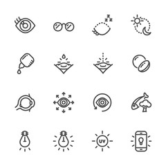 Eye care for good eye health and vision icons. Vector line icons