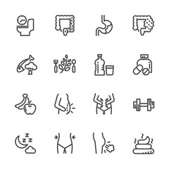 Cause, effect, and prevention of constipation or digestive system. Vector line icons