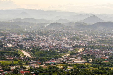 Beautiful landscape and cityscape with Sunset from Top mountain view Name is Phu Bo Bit, Loei, Thailand